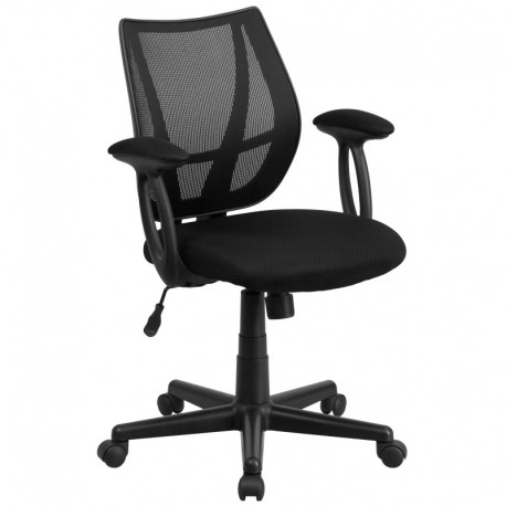 MFO Mid-Back Black Mesh Task Chair with Arms