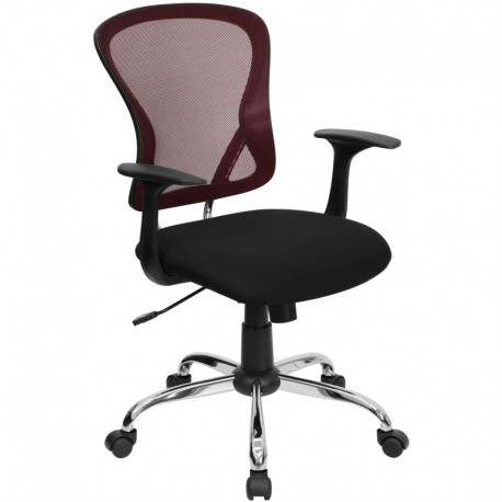 MFO Mid-Back Burgundy Mesh Office Chair with Black Fabric Seat and Chrome Finished Base