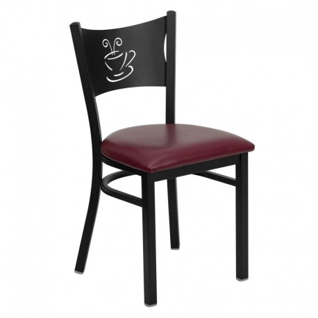 MFO Black Coffee Back Metal Restaurant Chair - Burgundy Vinyl Seat