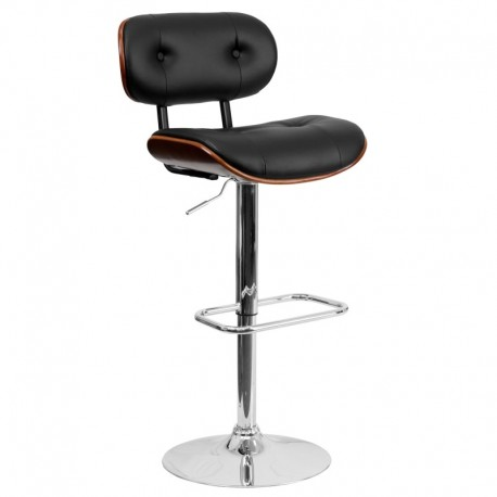 MFO Walnut Bentwood Adjustable Height Bar Stool with Button Tufted Black Vinyl Upholstery