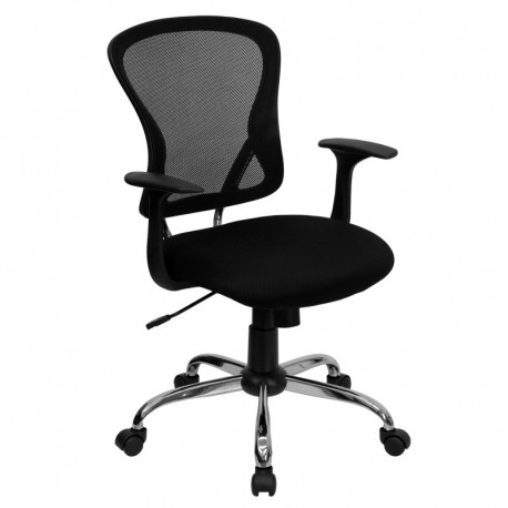 MFO Mid-Back Black Mesh Office Chair with Chrome Finished Base