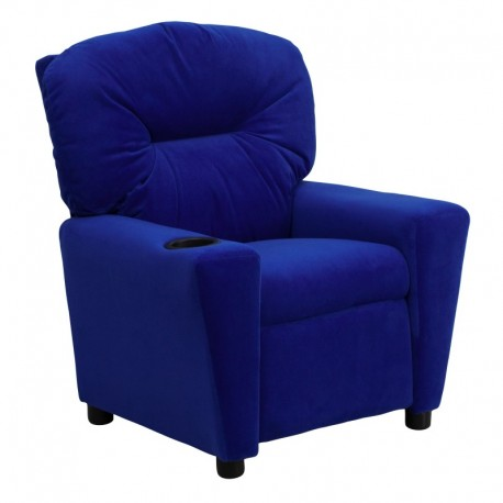 MFO Contemporary Blue Microfiber Kids Recliner with Cup Holder