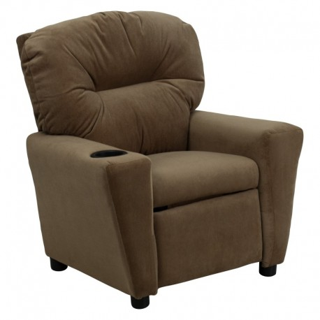MFO Contemporary Brown Microfiber Kids Recliner with Cup Holder