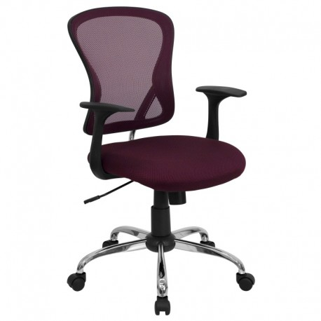 MFO Mid-Back Burgundy Mesh Office Chair with Chrome Finished Base