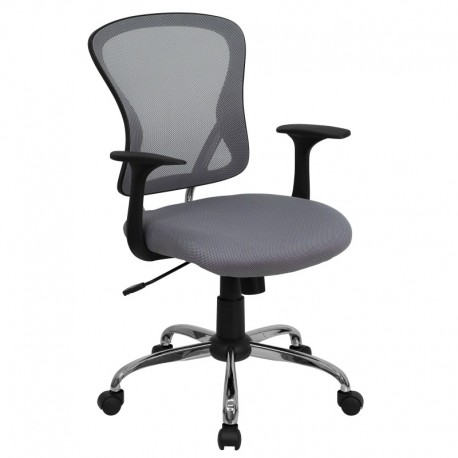 MFO Mid-Back Gray Mesh Office Chair with Chrome Finished Base