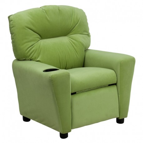 MFO Contemporary Avocado Microfiber Kids Recliner with Cup Holder