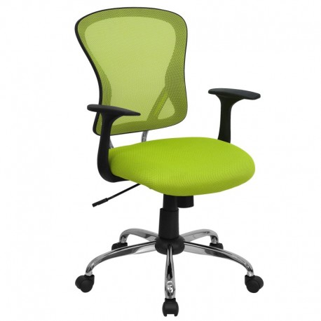 MFO Mid-Back Green Mesh Office Chair with Chrome Finished Base