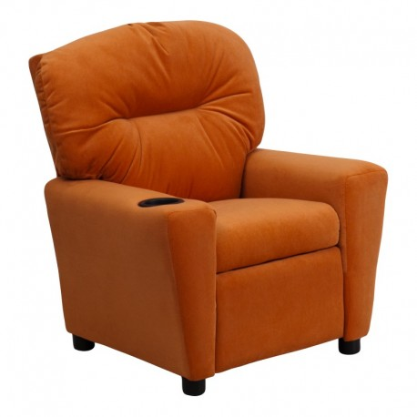 MFO Contemporary Orange Microfiber Kids Recliner with Cup Holder