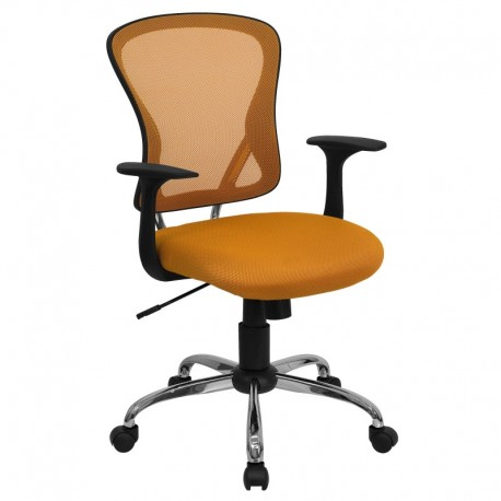 MFO Mid-Back Orange Mesh Office Chair with Chrome Finished Base