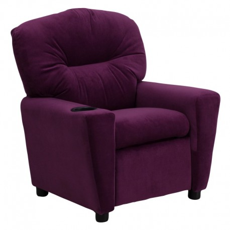 MFO Contemporary Purple Microfiber Kids Recliner with Cup Holder