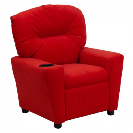MFO Contemporary Red Microfiber Kids Recliner with Cup Holder