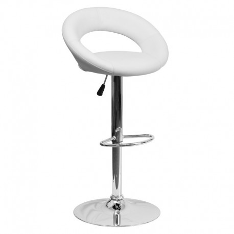 MFO Contemporary White Vinyl Rounded Back Adjustable Height Bar Stool with Chrome Base