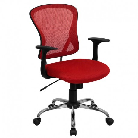 MFO Mid-Back Red Mesh Office Chair with Chrome Finished Base