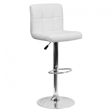 MFO Contemporary White Quilted Vinyl Adjustable Height Bar Stool with Chrome Base