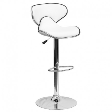 MFO Contemporary Cozy Mid-Back White Vinyl Adjustable Height Bar Stool with Chrome Base