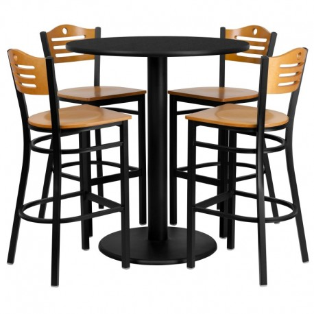 MFO 36'' Round Black Laminate Table Set with 4 Wood Slat Back Metal Bar Stools - Natural Wood Seat
