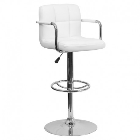 MFO Contemporary White Quilted Vinyl Adjustable Height Bar Stool with Arms and Chrome Base