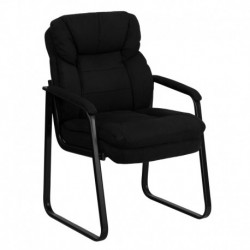 MFO Black Microfiber Executive Side Chair with Sled Base