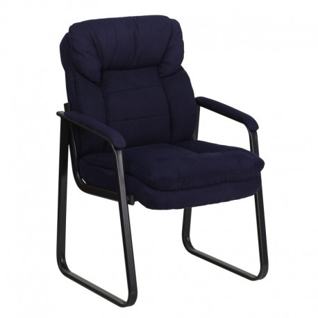MFO Navy Microfiber Executive Side Chair with Sled Base