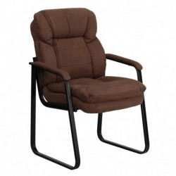 MFO Brown Microfiber Executive Side Chair with Sled Base