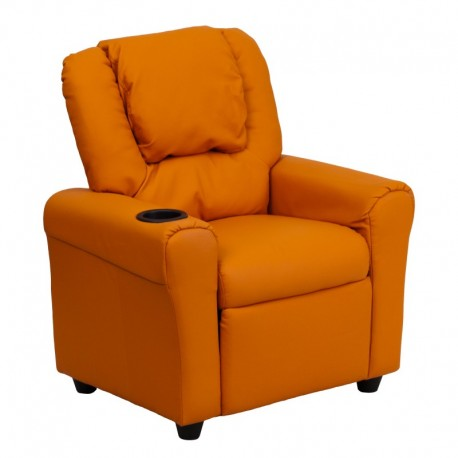 MFO Contemporary Orange Vinyl Kids Recliner with Cup Holder and Headrest