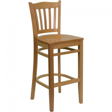 MFO Natural Wood Finished Vertical Slat Back Wooden Restaurant Bar Stool