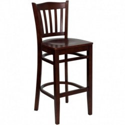 MFO Mahogany Finished Vertical Slat Back Wooden Restaurant Bar Stool