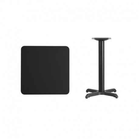 MFO 24'' Square Black Laminate Table Top with 22'' x 22'' Table Height Base