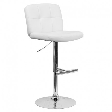 MFO Contemporary Tufted White Vinyl Adjustable Height Bar Stool with Chrome Base