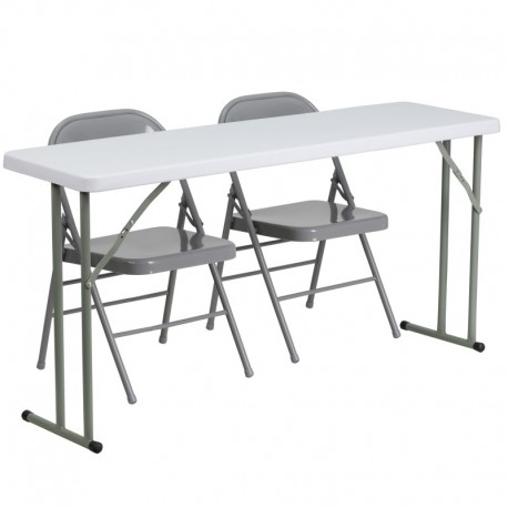 MFO 18'' x 60'' Plastic Folding Training Table with 2 Gray Metal Folding Chairs