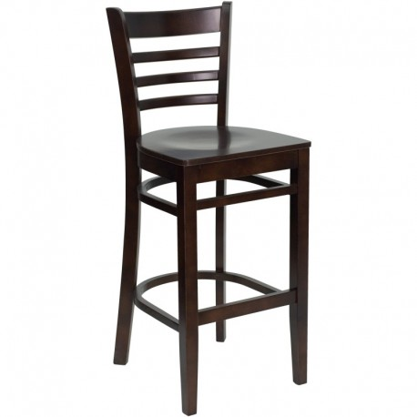 MFO Walnut Finished Ladder Back Wooden Restaurant Bar Stool