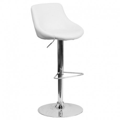 MFO Contemporary White Vinyl Bucket Seat Adjustable Height Bar Stool with Chrome Base