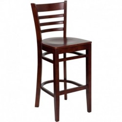 MFO Mahogany Finished Ladder Back Wooden Restaurant Bar Stool