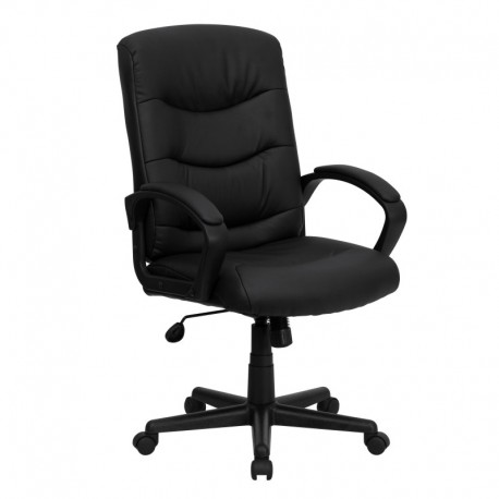 MFO Mid-Back Black Leather Office Chair