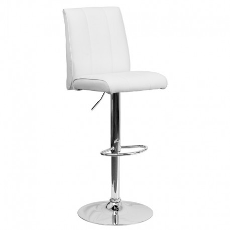MFO Contemporary White Vinyl Adjustable Height Bar Stool with Chrome Base