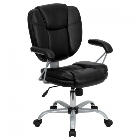 MFO Mid-Back Black Leather Task and Computer Chair