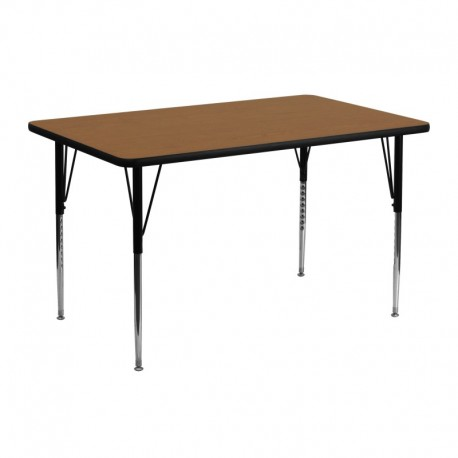 MFO 24''W x 48''L Rectangular Activity Table with Oak Thermal Fused Laminate Top and Standard Height Adjustable Legs