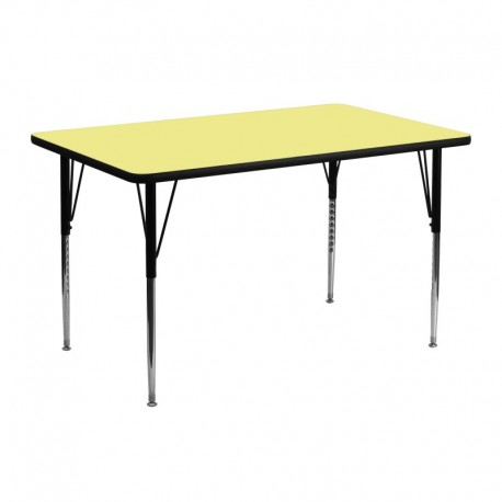 MFO 24''W x 48''L Rectangular Activity Table with Yellow Thermal Fused Laminate Top and Standard Height Adjustable Legs