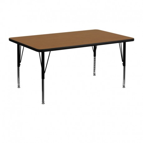 MFO 24''W x 48''L Rectangular Activity Table with Oak Thermal Fused Laminate Top and Height Adjustable Pre-School Legs