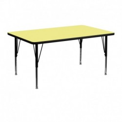 MFO 24''W x 48''L Rectangular Activity Table with Yellow Thermal Fused Laminate Top and Height Adjustable Pre-School Legs
