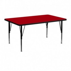 MFO 24''W x 48''L Rectangular Activity Table with Red Thermal Fused Laminate Top and Height Adjustable Pre-School Legs