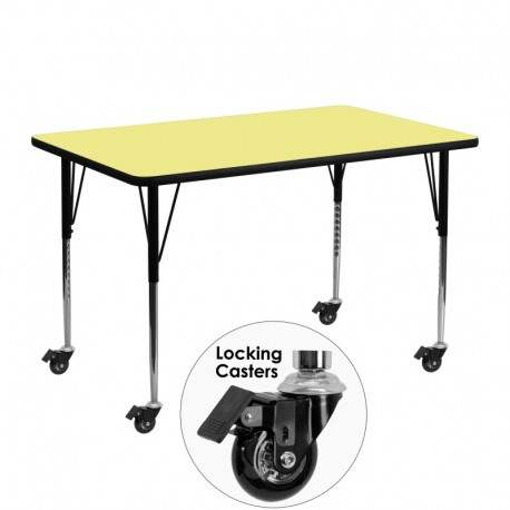 MFO Mobile 24''W x 48''L Rectangular Activity Table with Yellow Thermal Fused Laminate Top and Standard Height Adjustable Legs