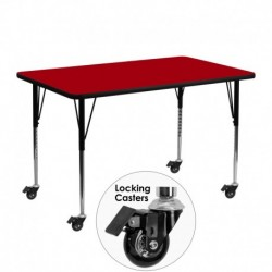 MFO Mobile 24''W x 48''L Rectangular Activity Table with Red Thermal Fused Laminate Top and Standard Height Adjustable Legs
