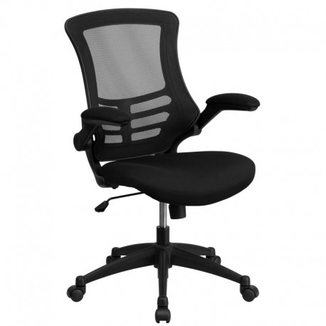 MFO Mid-Back Black Mesh Chair with Nylon Base