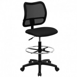 MFO Mid-Back Mesh Drafting Stool with Black Fabric Seat