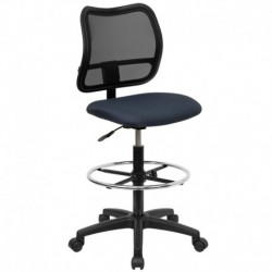 MFO Mid-Back Mesh Drafting Stool with Navy Blue Fabric Seat