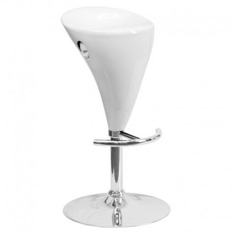 MFO Contemporary White Plastic Adjustable Height Bar Stool with Chrome Base