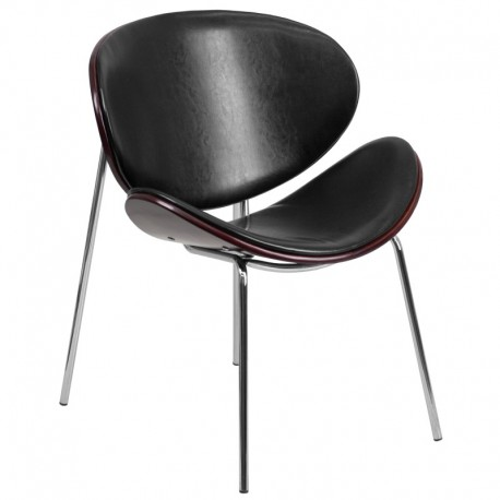 MFO Mahogany Bentwood Leisure Reception Chair with Black Leather Upholstery