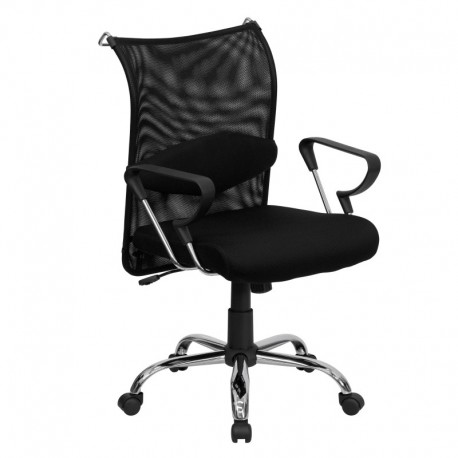 MFO Mid-Back Manager's Chair with Black Mesh Back and Padded Mesh Seat