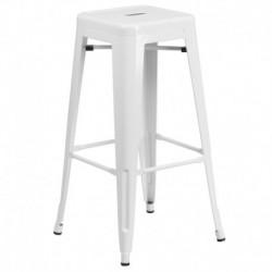 MFO 30'' Backless White Metal Bar Stool